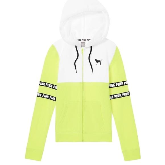 8c50890e813fb VS PINK perfect full zip hoodie neon citrus NWT Boutique